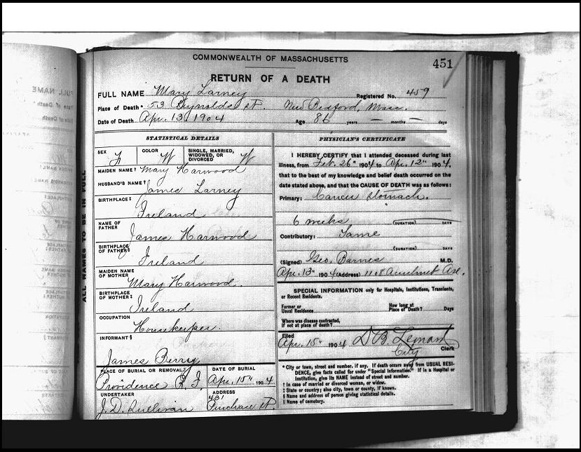 Death Certificate for Mary (Harwood) Larney, 1904