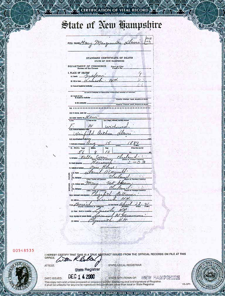 Death Certificate for Mary (O'Connell) Davis, 1941